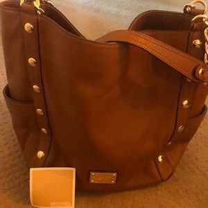 Michael Kors brown leather bag with gold studs